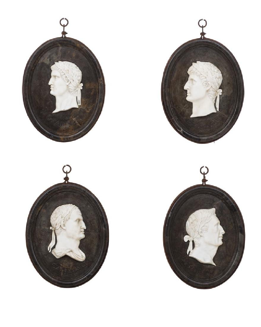 SET OF FOUR ITALIAN CARVED MARBLE RELIEF PORTRAITS