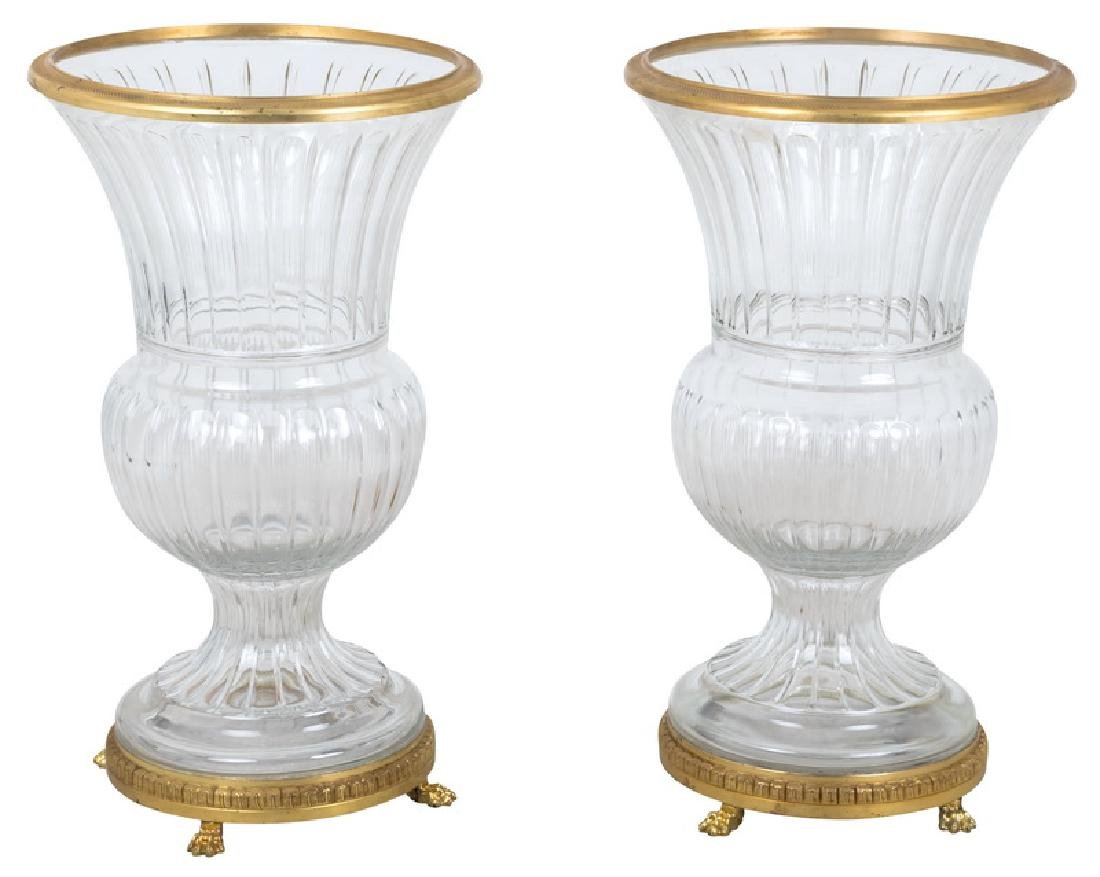 PAIR OF MOLDED GLASS & GILT BRONZE MOUNTED URNS
