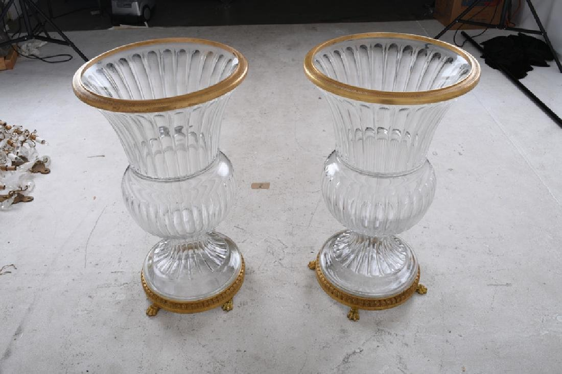 PAIR OF MOLDED GLASS & GILT BRONZE MOUNTED URNS - 7