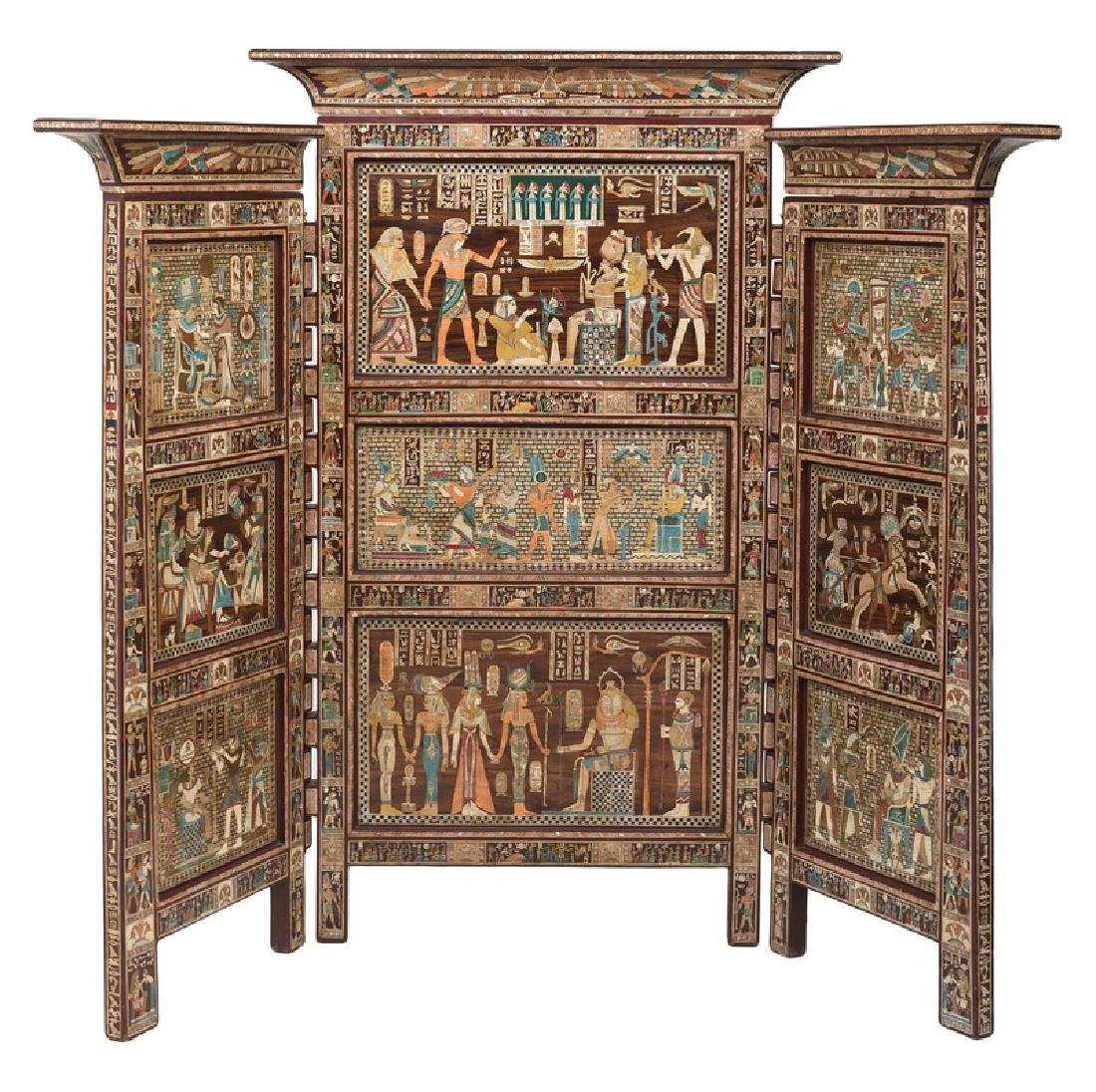 EGYPTIANESQUE CARVED & INLAID THREE-PANEL SCREEN