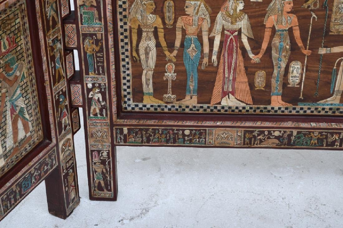 EGYPTIANESQUE CARVED & INLAID THREE-PANEL SCREEN - 2