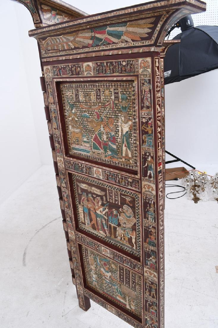 EGYPTIANESQUE CARVED & INLAID THREE-PANEL SCREEN - 3