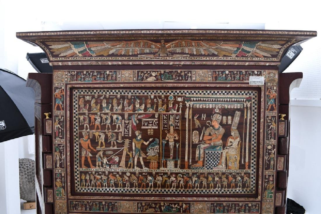 EGYPTIANESQUE CARVED & INLAID THREE-PANEL SCREEN - 4