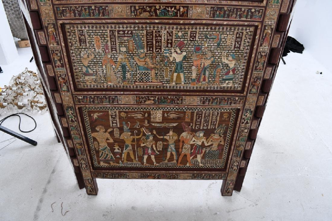 EGYPTIANESQUE CARVED & INLAID THREE-PANEL SCREEN - 5