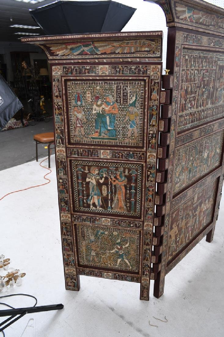 EGYPTIANESQUE CARVED & INLAID THREE-PANEL SCREEN - 6