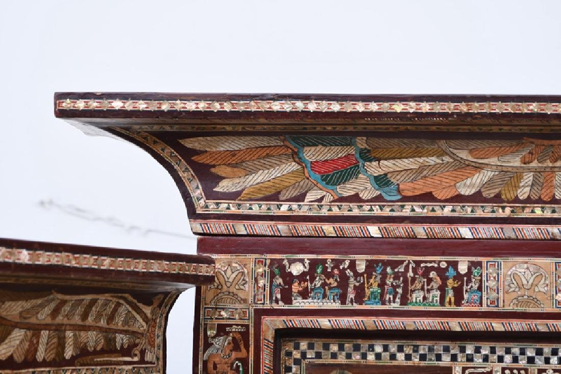 EGYPTIANESQUE CARVED & INLAID THREE-PANEL SCREEN - 7