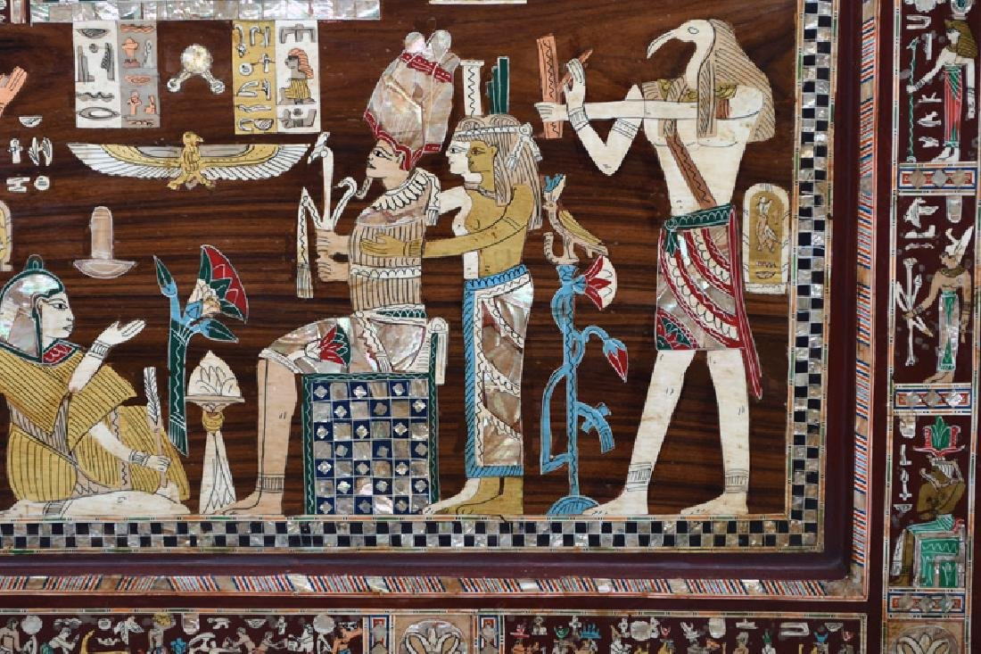 EGYPTIANESQUE CARVED & INLAID THREE-PANEL SCREEN - 8