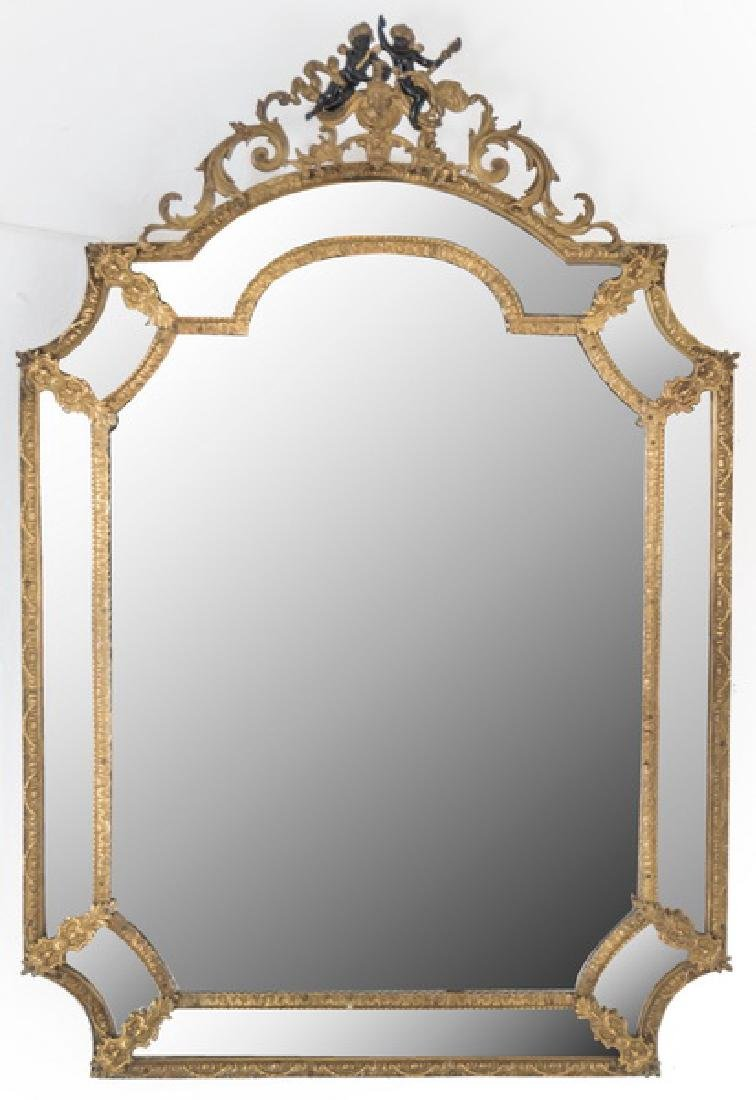 FRENCH GILT METAL WALL MIRROR