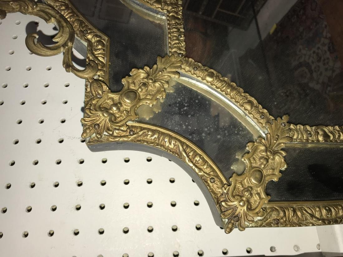 FRENCH GILT METAL WALL MIRROR - 2