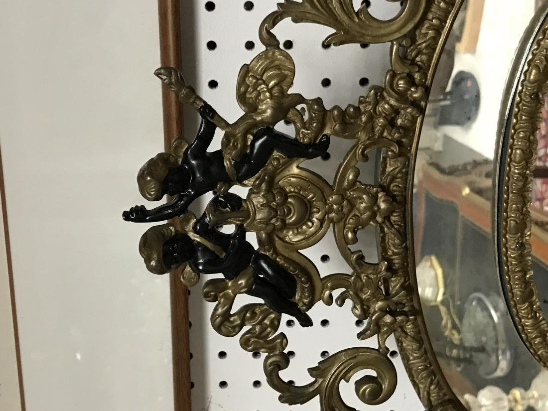 FRENCH GILT METAL WALL MIRROR - 3