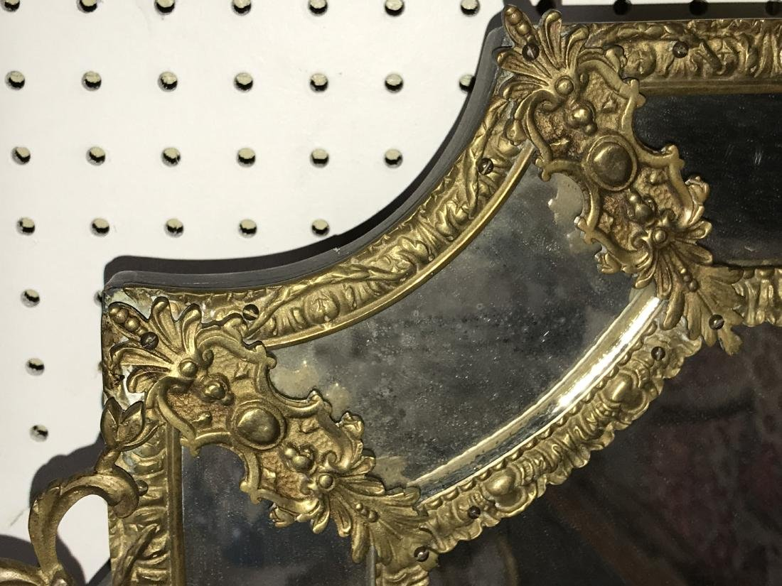 FRENCH GILT METAL WALL MIRROR - 5
