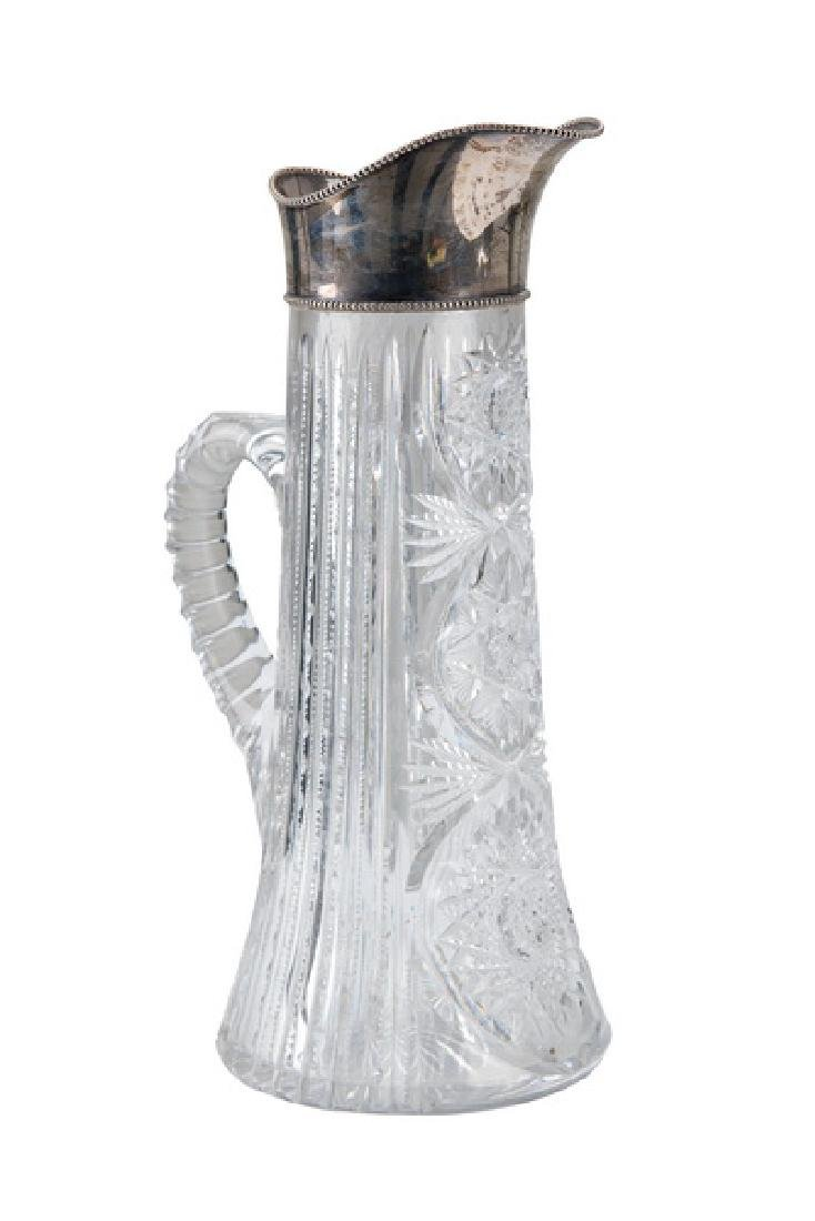 STERLING & BRILLIANT-CUT GLASS PITCHER