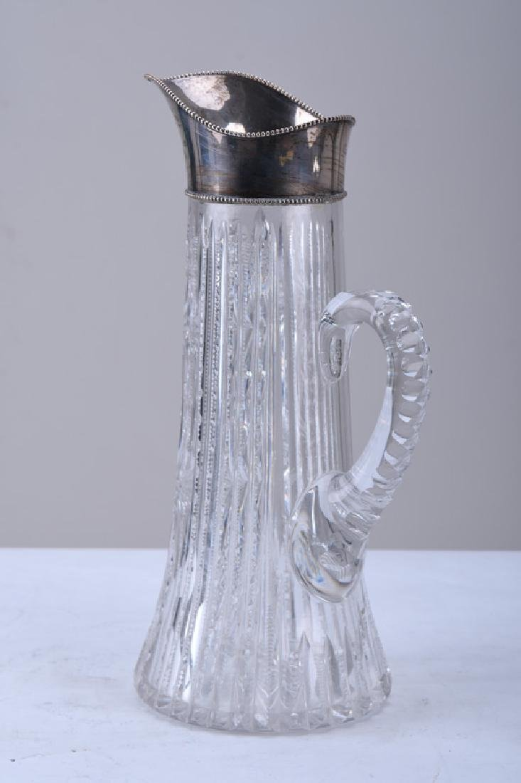 STERLING & BRILLIANT-CUT GLASS PITCHER - 3