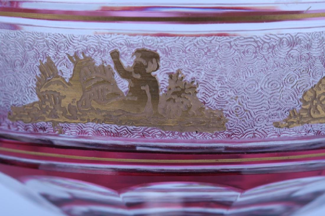 GILT RUBY & CLEAR GLASS TABLE SERVICE - 10