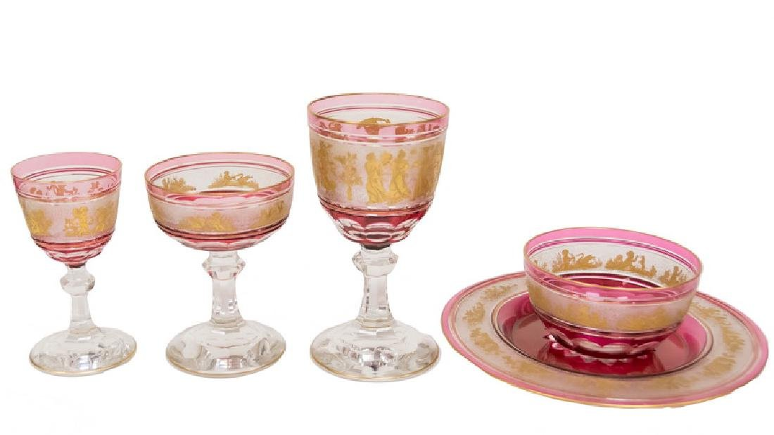GILT RUBY & CLEAR GLASS TABLE SERVICE