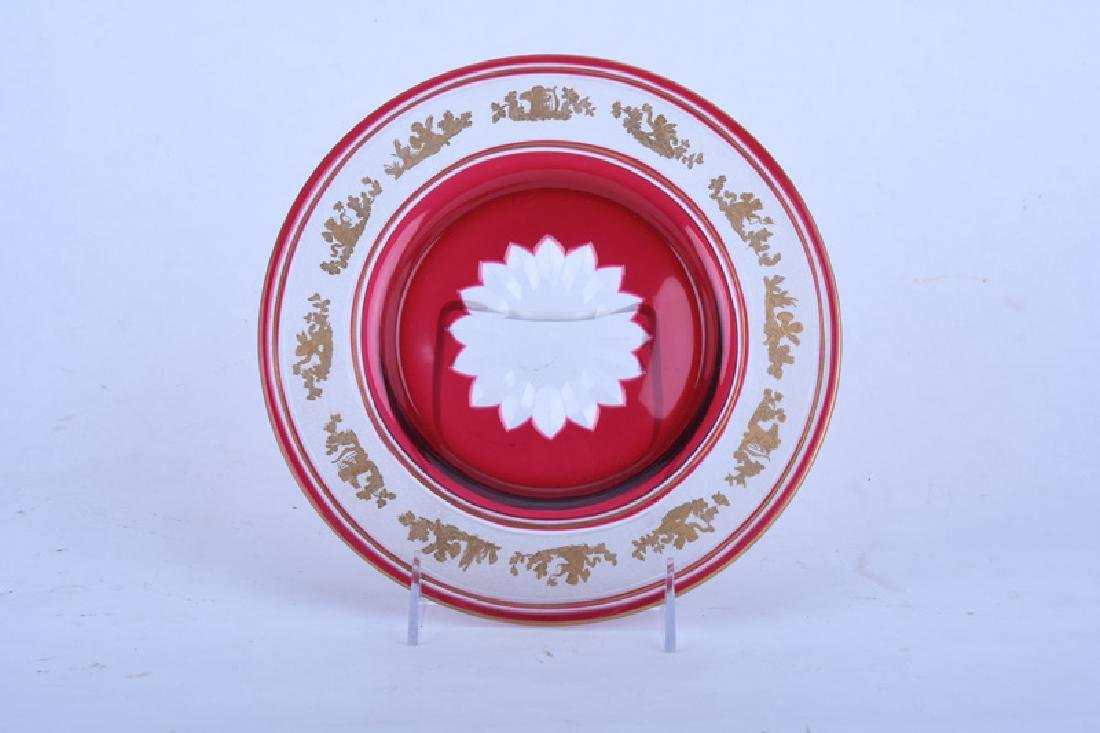 GILT RUBY & CLEAR GLASS TABLE SERVICE - 3