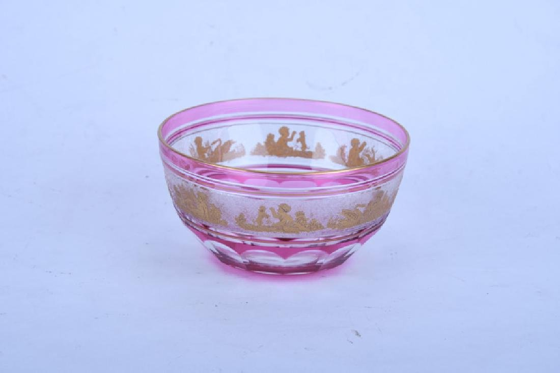 GILT RUBY & CLEAR GLASS TABLE SERVICE - 4
