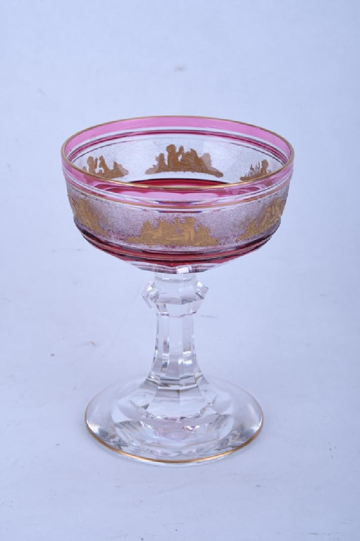 GILT RUBY & CLEAR GLASS TABLE SERVICE - 5