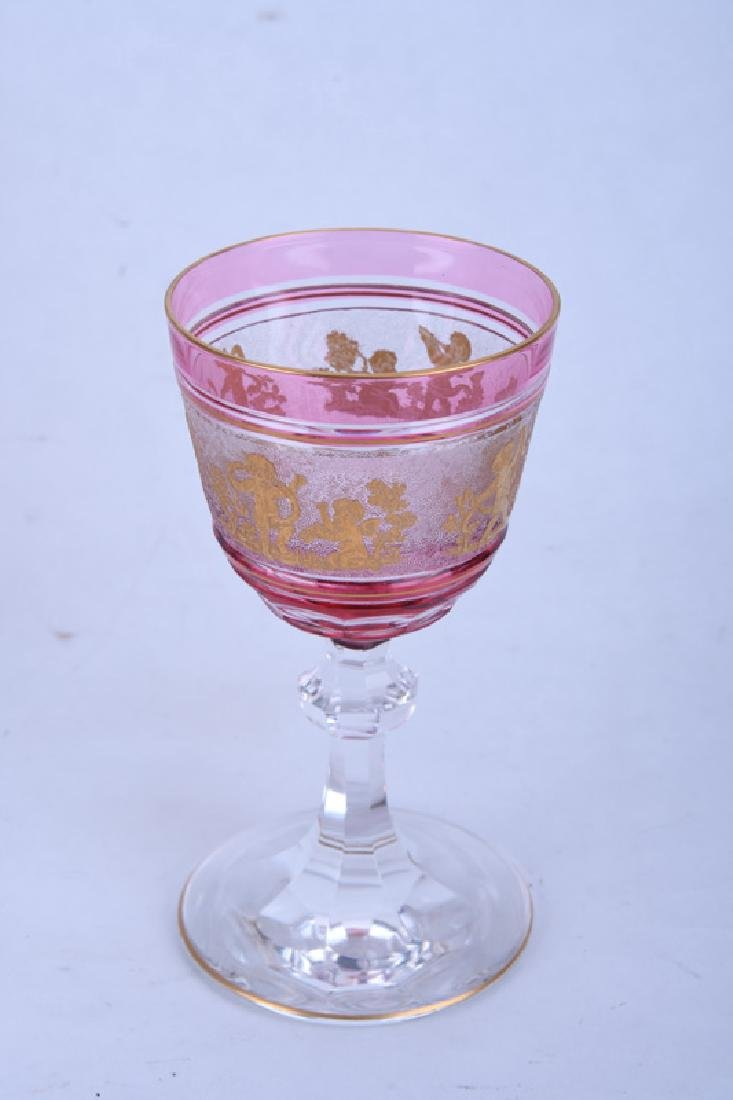 GILT RUBY & CLEAR GLASS TABLE SERVICE - 7
