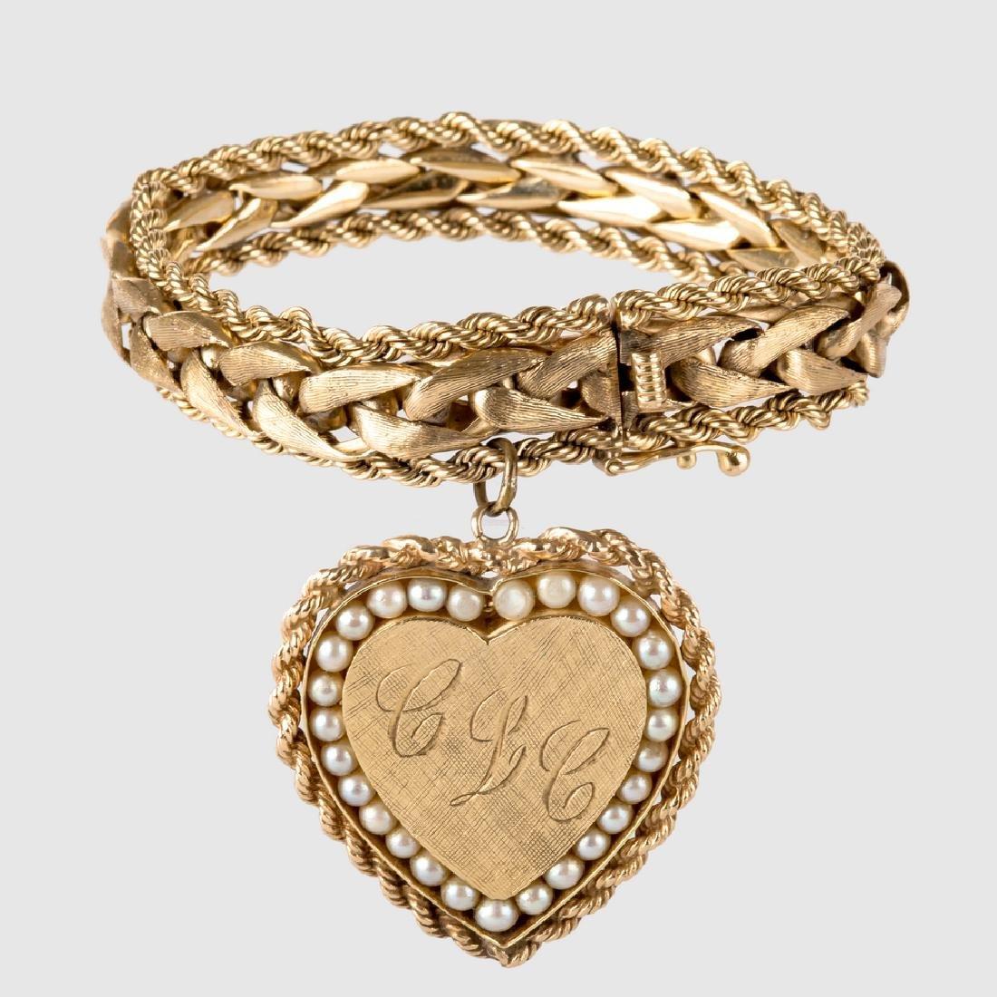 14 KARAT YELLOW GOLD BRACELET WITH 18 KARAT GOLD AND