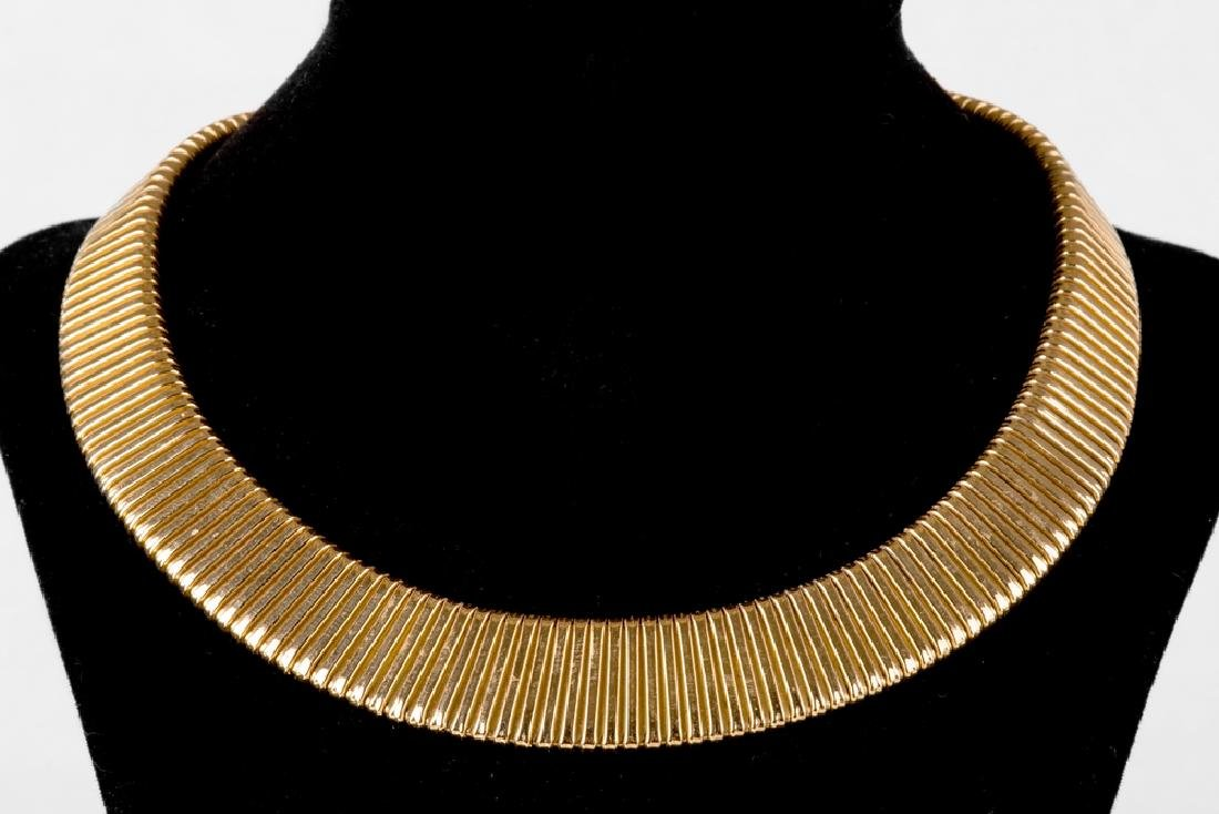 18 KARAT YELLOW GOLD FLATTENED SNAKE LINK NECKLACE