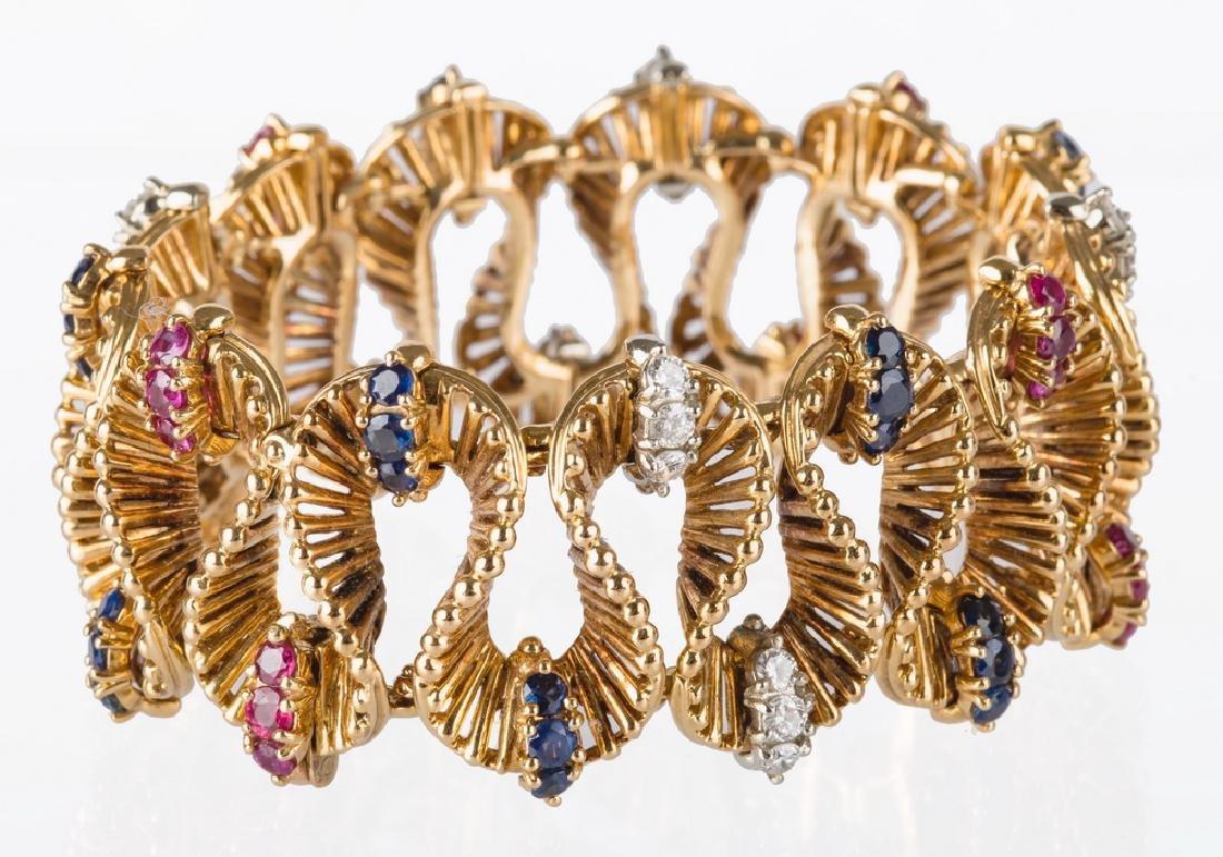 18 KARAT YELLOW GOLD BRACELET WITH DIAMONDS, RUBIES,