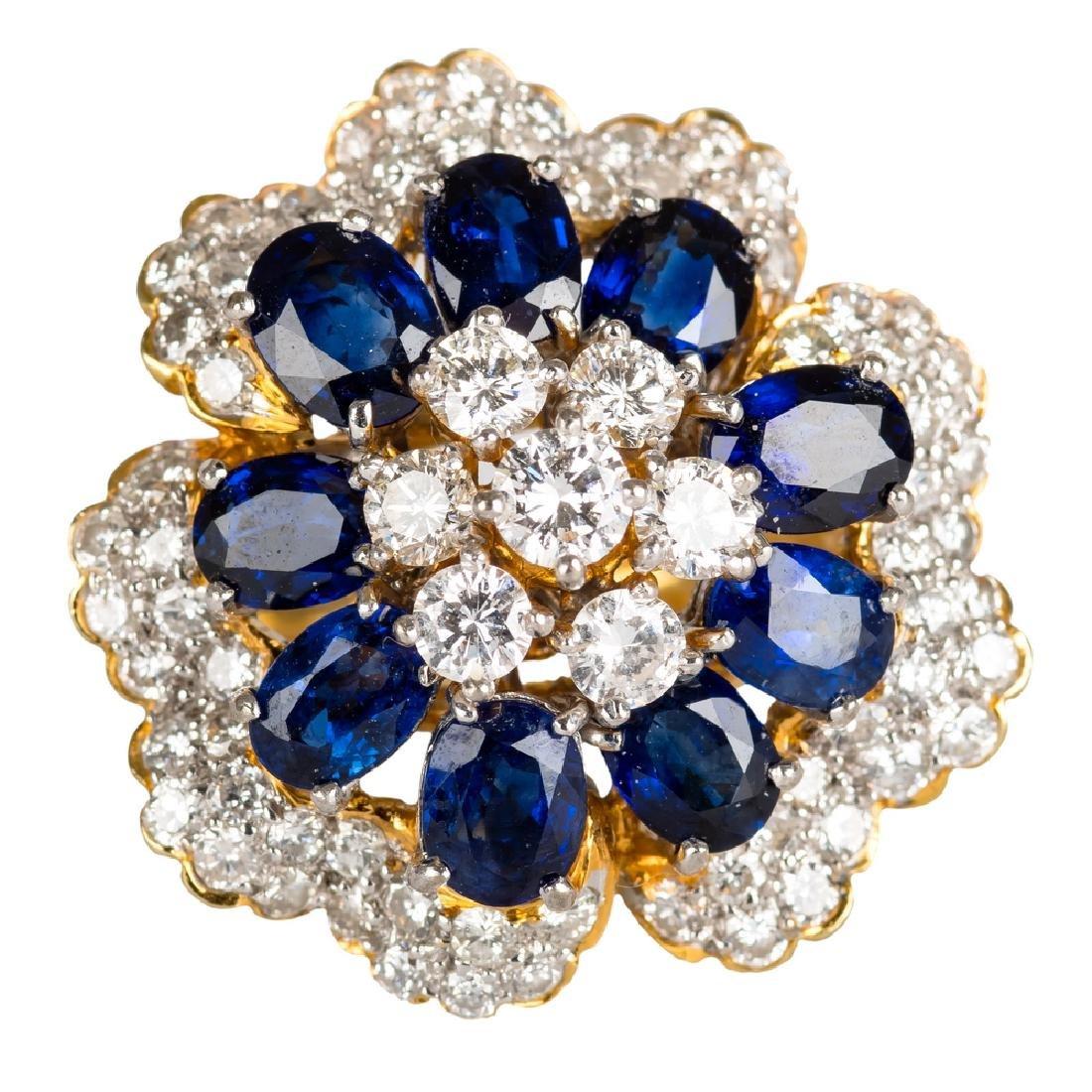 18 KARAT DIAMOND, MOISSANITE & SAPPHIRE CLUSTER RING