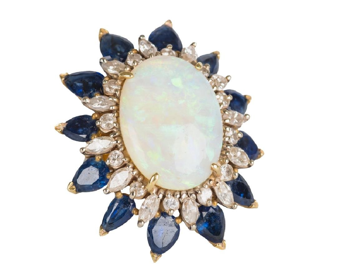 18 KARAT GOLD WHITE OPAL, DIAMOND & SAPPHIRE RING