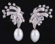 PAIR OF 14 KARAT WHITE GOLD PEARL  DIAMOND EARRINGS