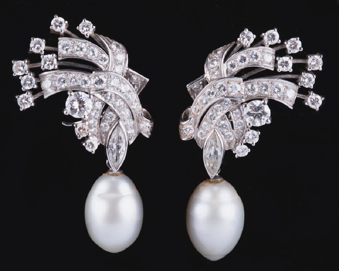 PAIR OF 14 KARAT WHITE GOLD, PEARL, & DIAMOND EARRINGS