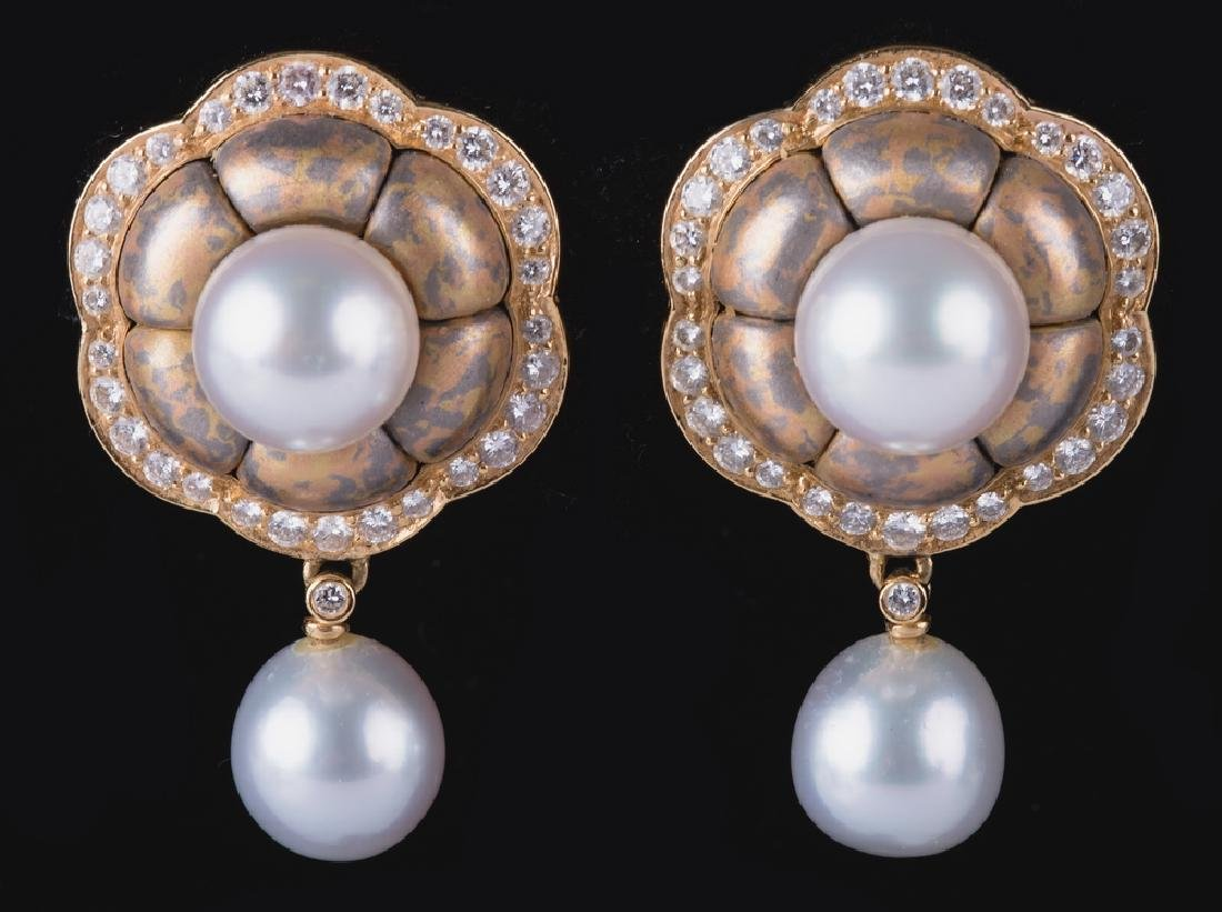PAIR OF 18 KARAT YELLOW GOLD, PEARL & DIAMOND EARRINGS
