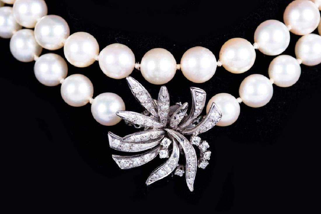 LADIES PEARL NECKLACE WITH 14 KARAT WHITE GOLD &
