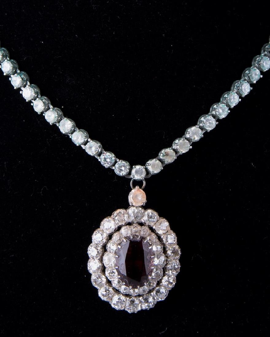 14 KARAT GOLD, DIAMOND, & CUBIC ZIRCONIA NECKLACE WITH