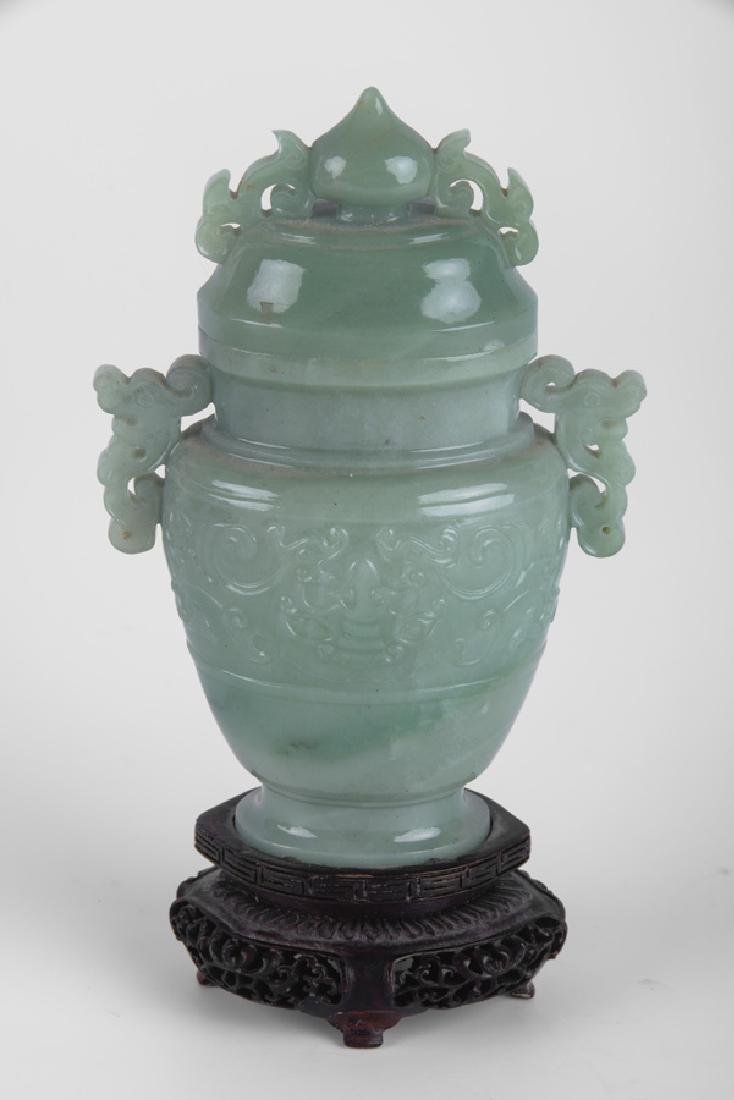 CHINESE JADEITE COVERED VASE