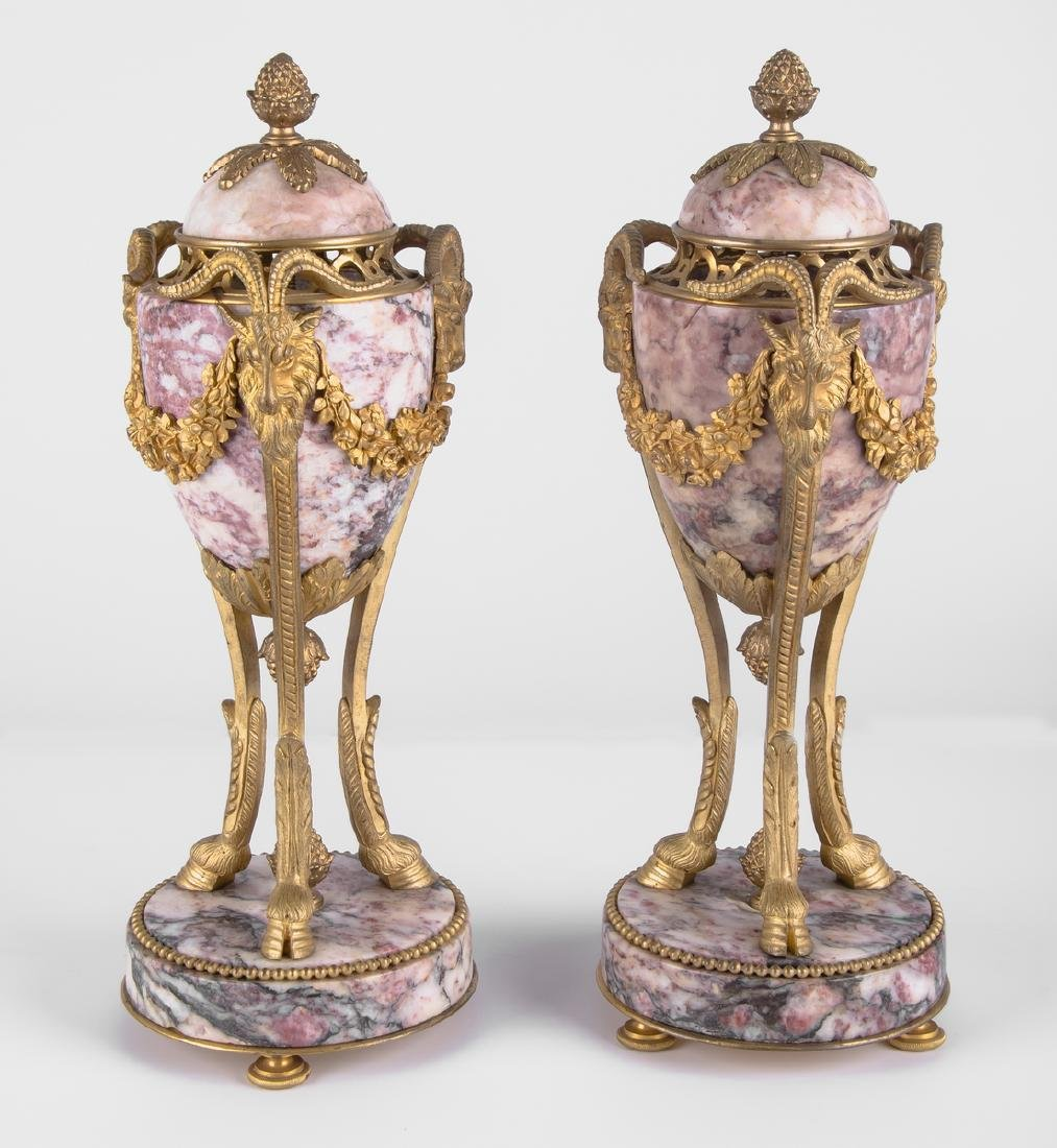 PAIR OF FRENCH ORMOLU-MOUNTED MARBLE GARNITURES
