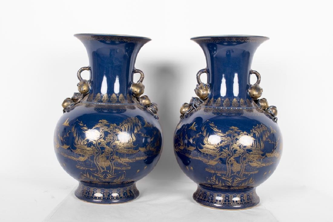PAIR OF CHINESE GILT & BLUE PORCELAIN VASES