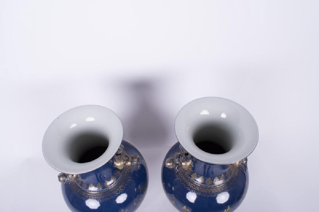 PAIR OF CHINESE GILT & BLUE PORCELAIN VASES - 3
