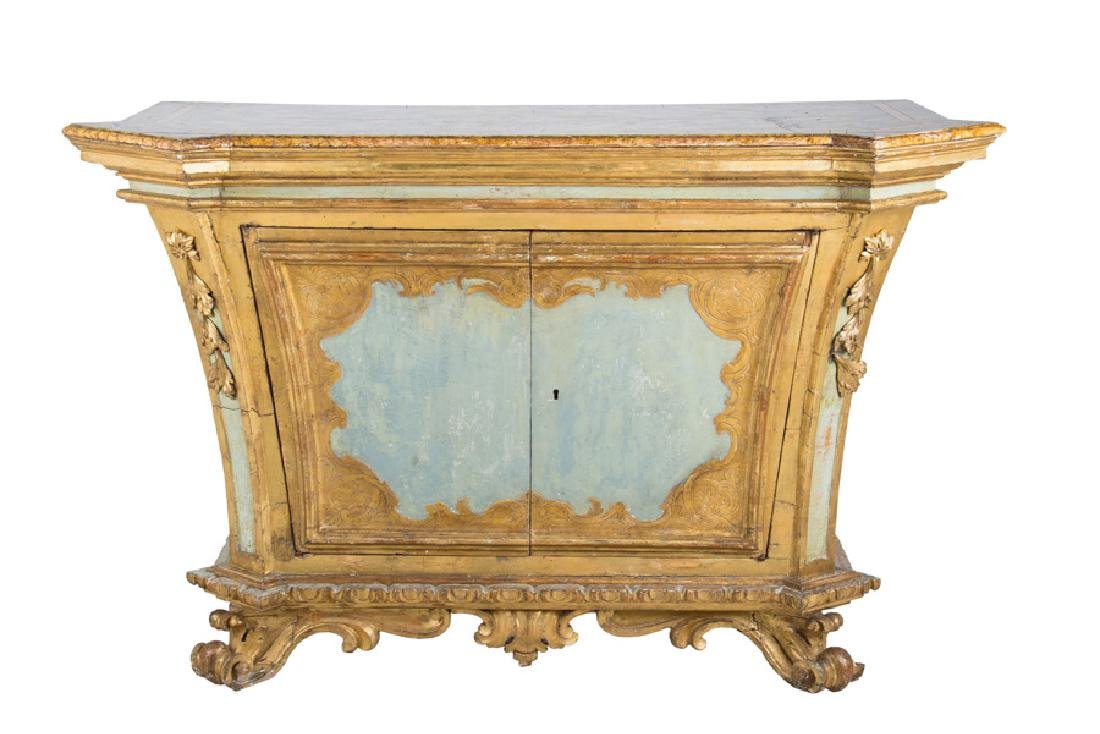 ITALIAN ROCOCO PAINTED & PARCEL-GILT CABINET