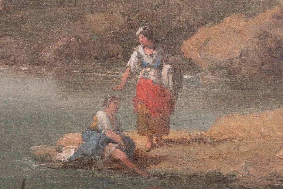 """ITALIAN SCHOOL: """"WOMEN WASHING CLOTHES BESIDE RIVER"""" - 5"""