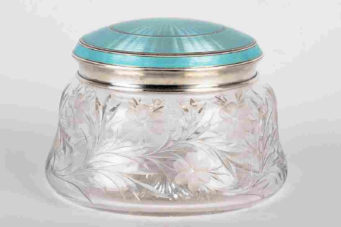 AMERICAN BLUE ENAMELED SILVER & CUT GLASS POWDER JAR