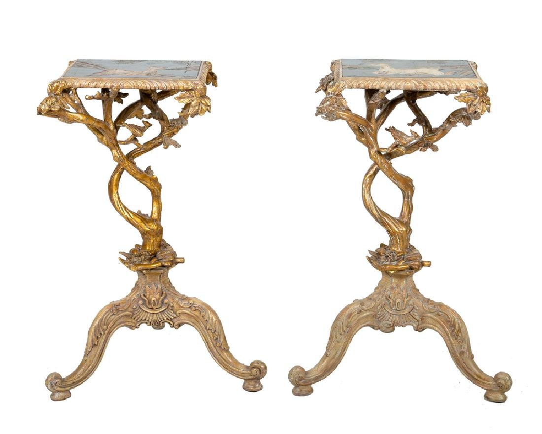 PAIR OF CONTIENTAL CARVED, GILDED, & COROMANDEL INLAID