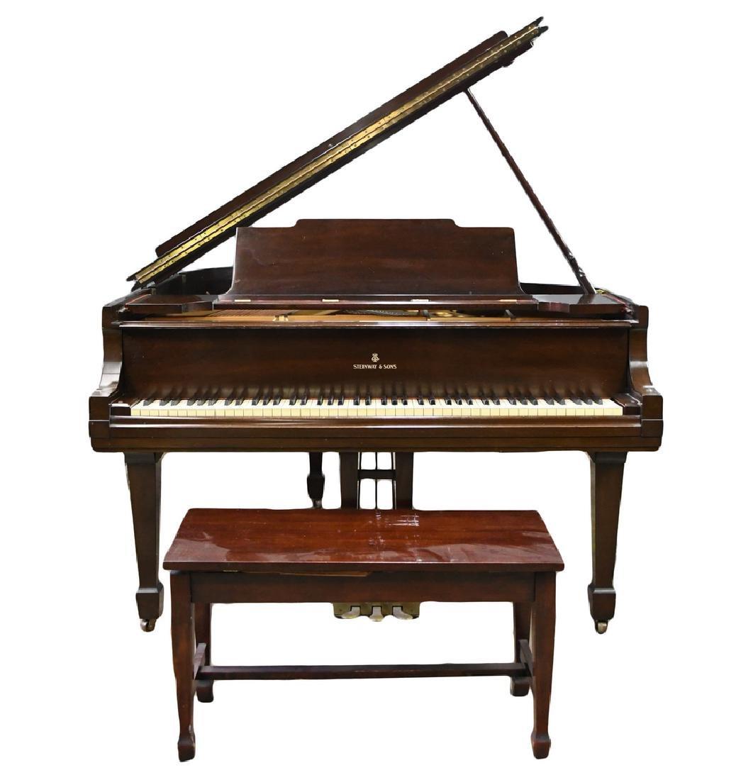 STEINWAY & SONS GRAND MAHOGANY CASE PIANO