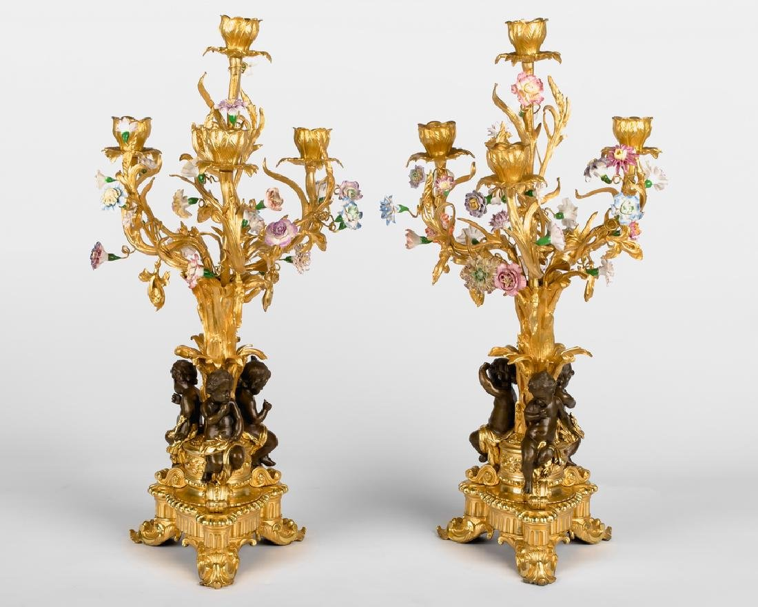 PAIR OF FRENCH BRONZE & PORCELAIN FIGURAL CANDELABRA