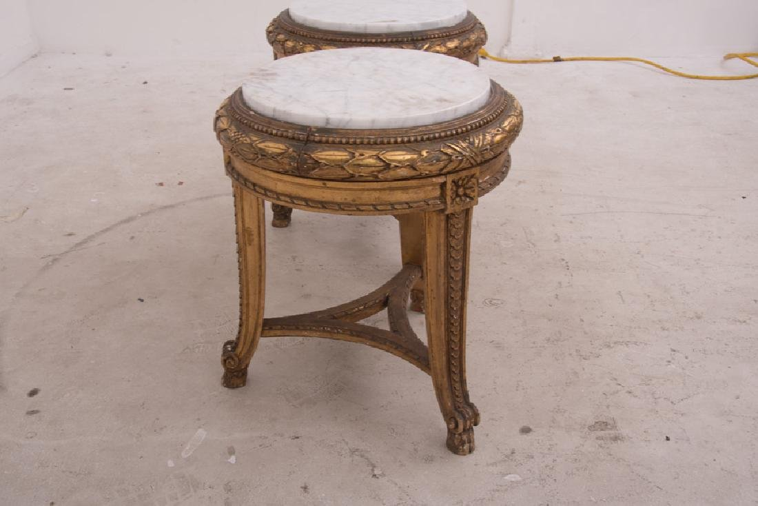 PAIR OF FRENCH GILT CARVED & DECORATED MARBLE TOP - 10