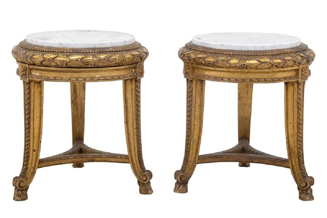 PAIR OF FRENCH GILT CARVED & DECORATED MARBLE TOP