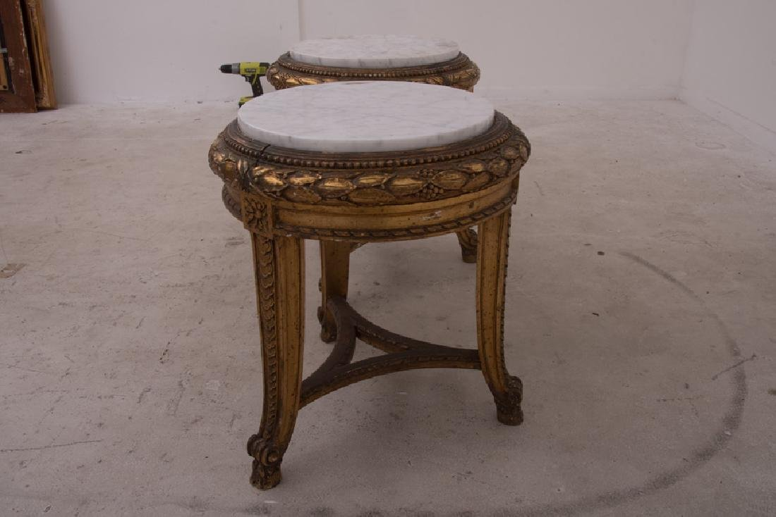 PAIR OF FRENCH GILT CARVED & DECORATED MARBLE TOP - 2