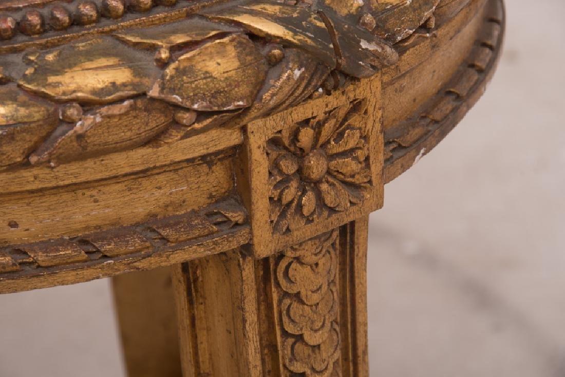 PAIR OF FRENCH GILT CARVED & DECORATED MARBLE TOP - 5