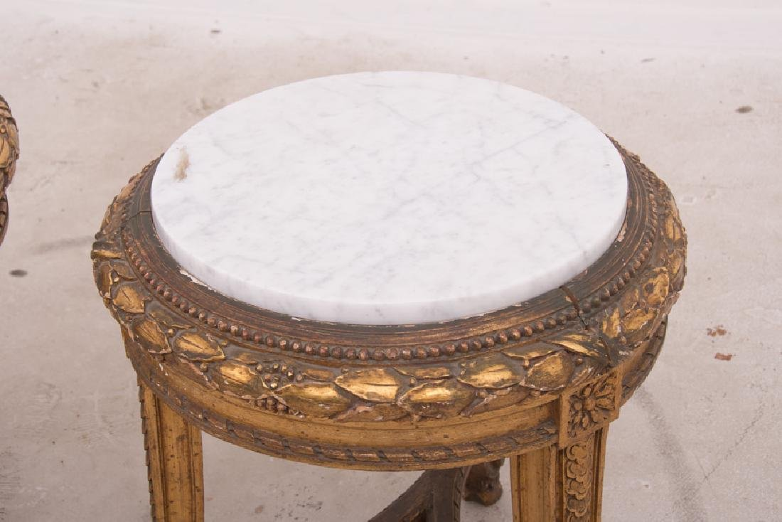 PAIR OF FRENCH GILT CARVED & DECORATED MARBLE TOP - 6