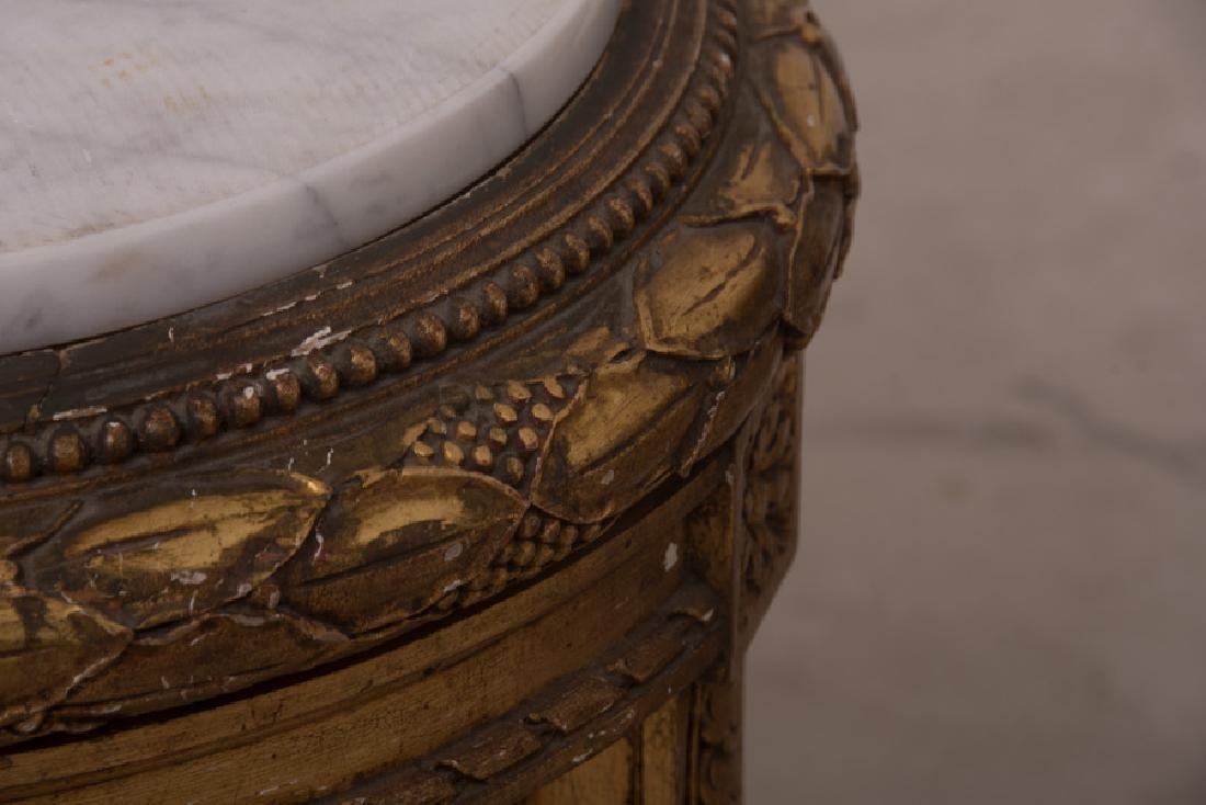 PAIR OF FRENCH GILT CARVED & DECORATED MARBLE TOP - 8