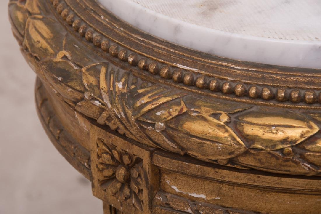 PAIR OF FRENCH GILT CARVED & DECORATED MARBLE TOP - 9